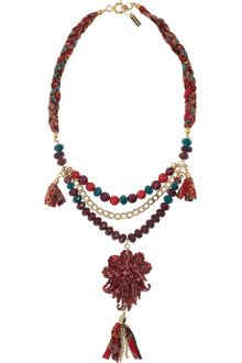 Etro Gold-Plated Glass and Silk Necklace - Lyst