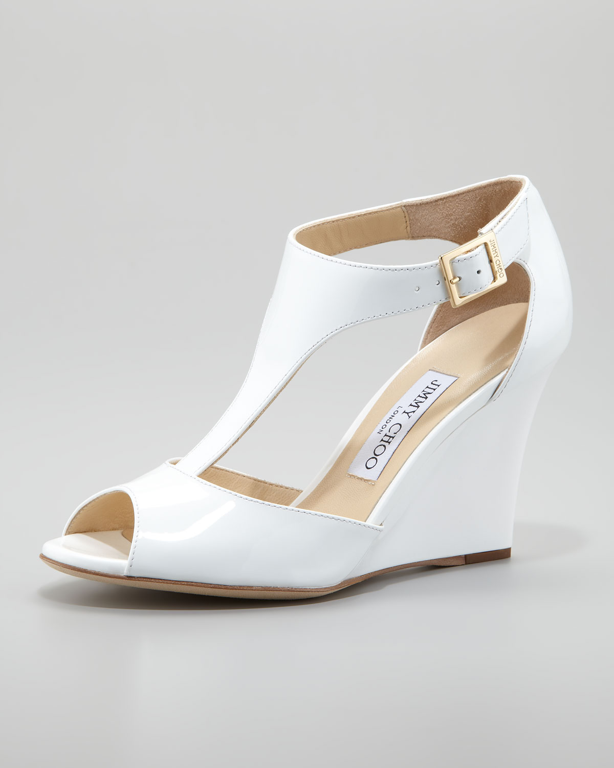 Jimmy choo Token Patent Tstrap Wedge Sandal White in White ...