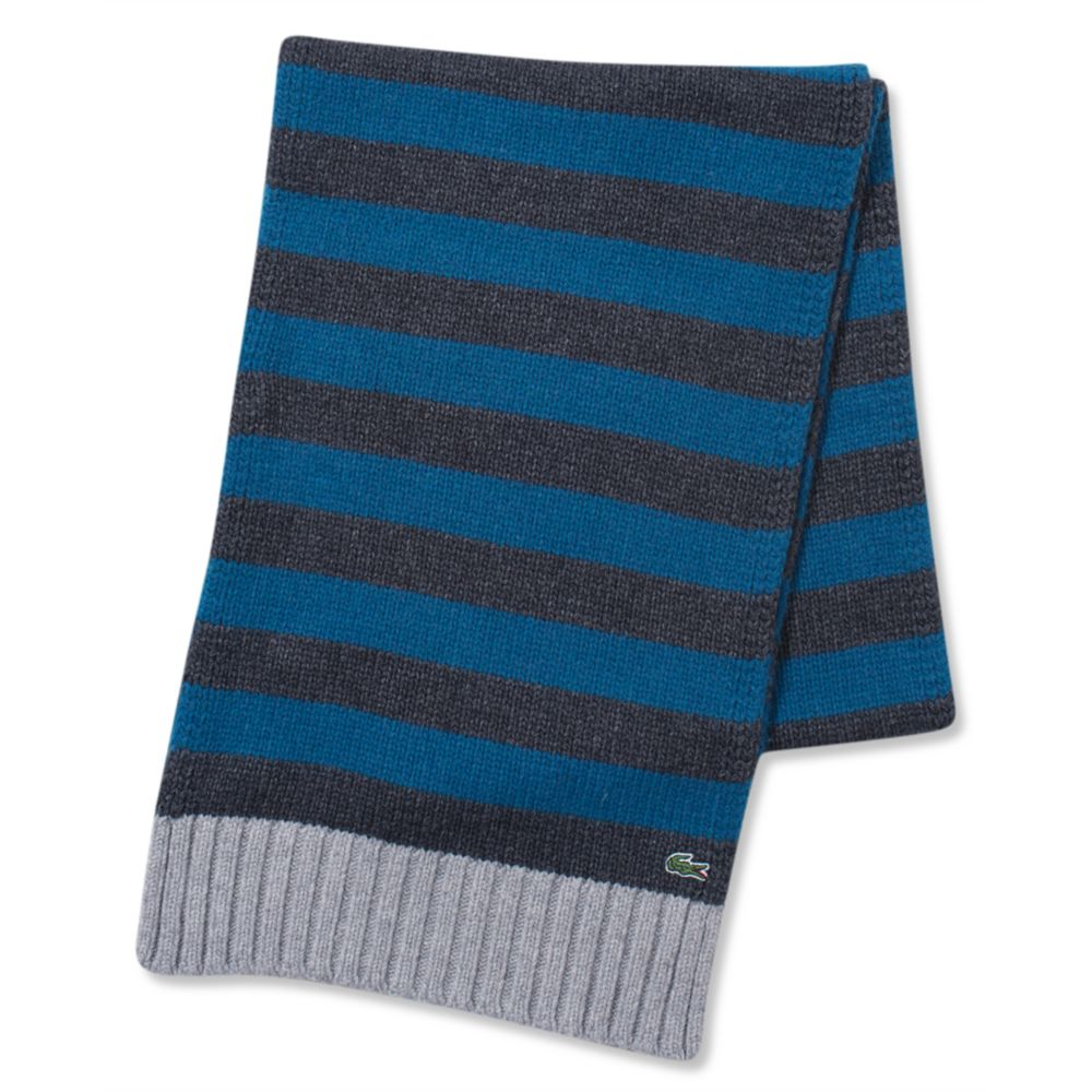 lacoste wool blend novelty scarf in blue for lyst