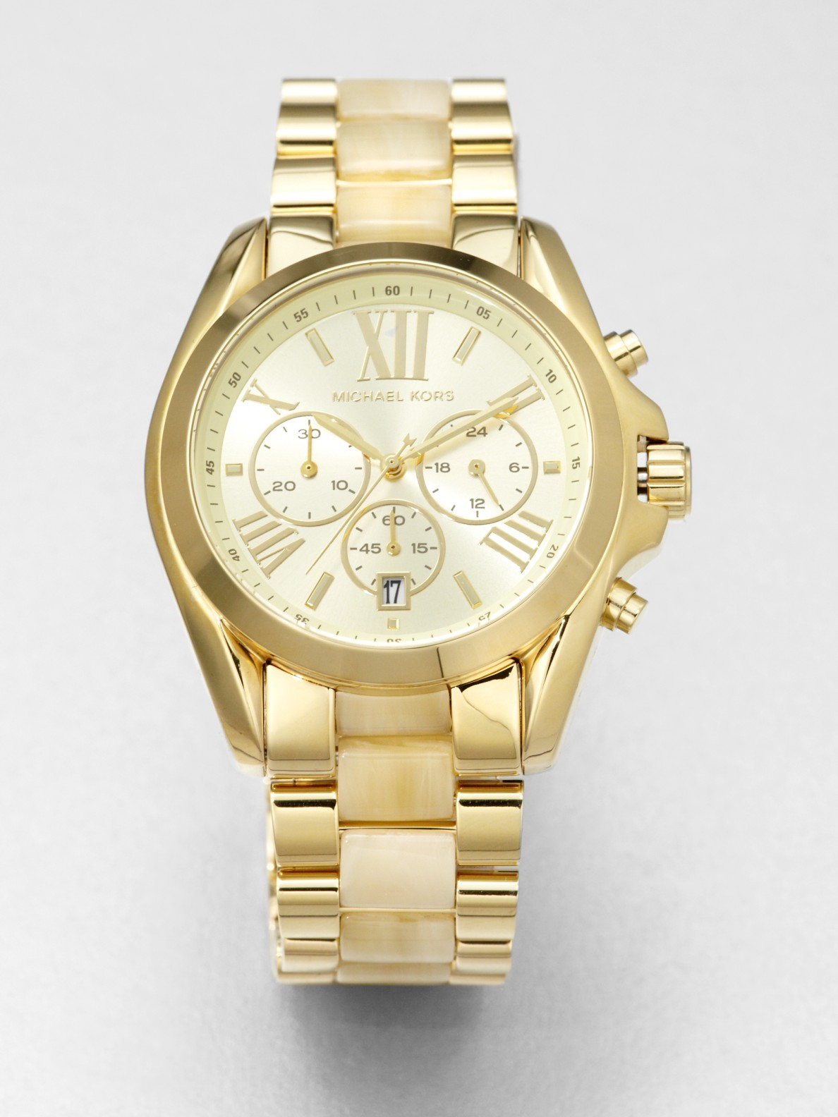 7fc238db0d Michael Kors Horn-Print Gold-Tone Stainless Steel Chronograph Watch ...