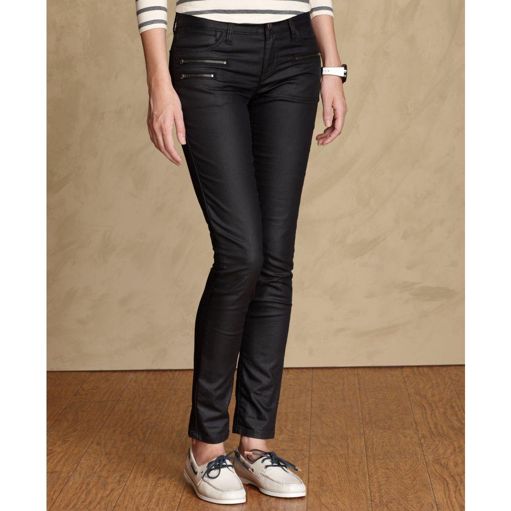 tommy hilfiger modern skinny coated jeans in black lyst. Black Bedroom Furniture Sets. Home Design Ideas