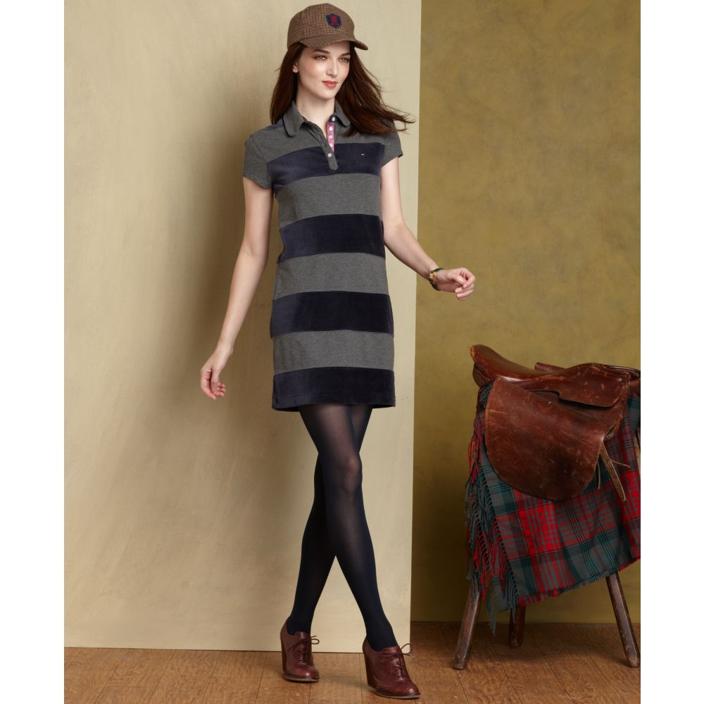c452a798 Tommy Hilfiger Short sleeve Striped Polo Shirt-dress in Gray - Lyst