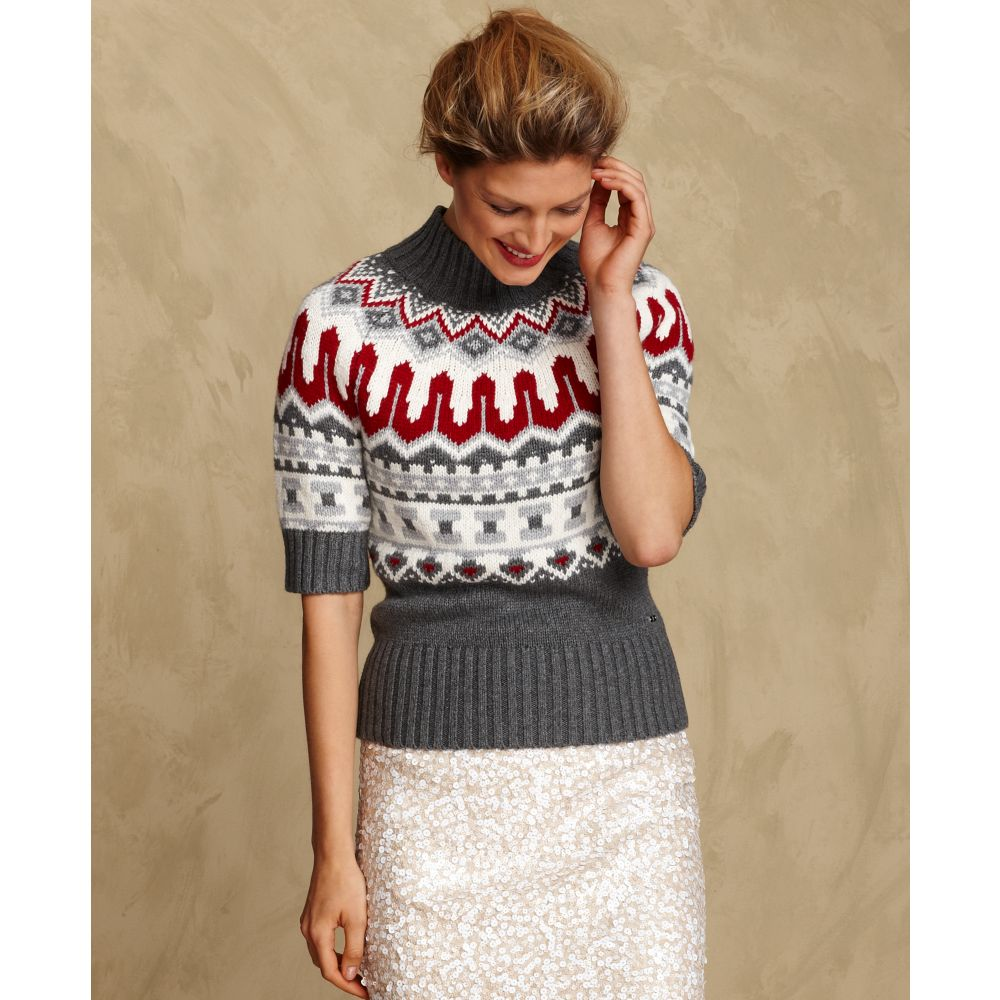 Tommy hilfiger Short Sleeve Turtleneck Fair Isle Sweater in White ...