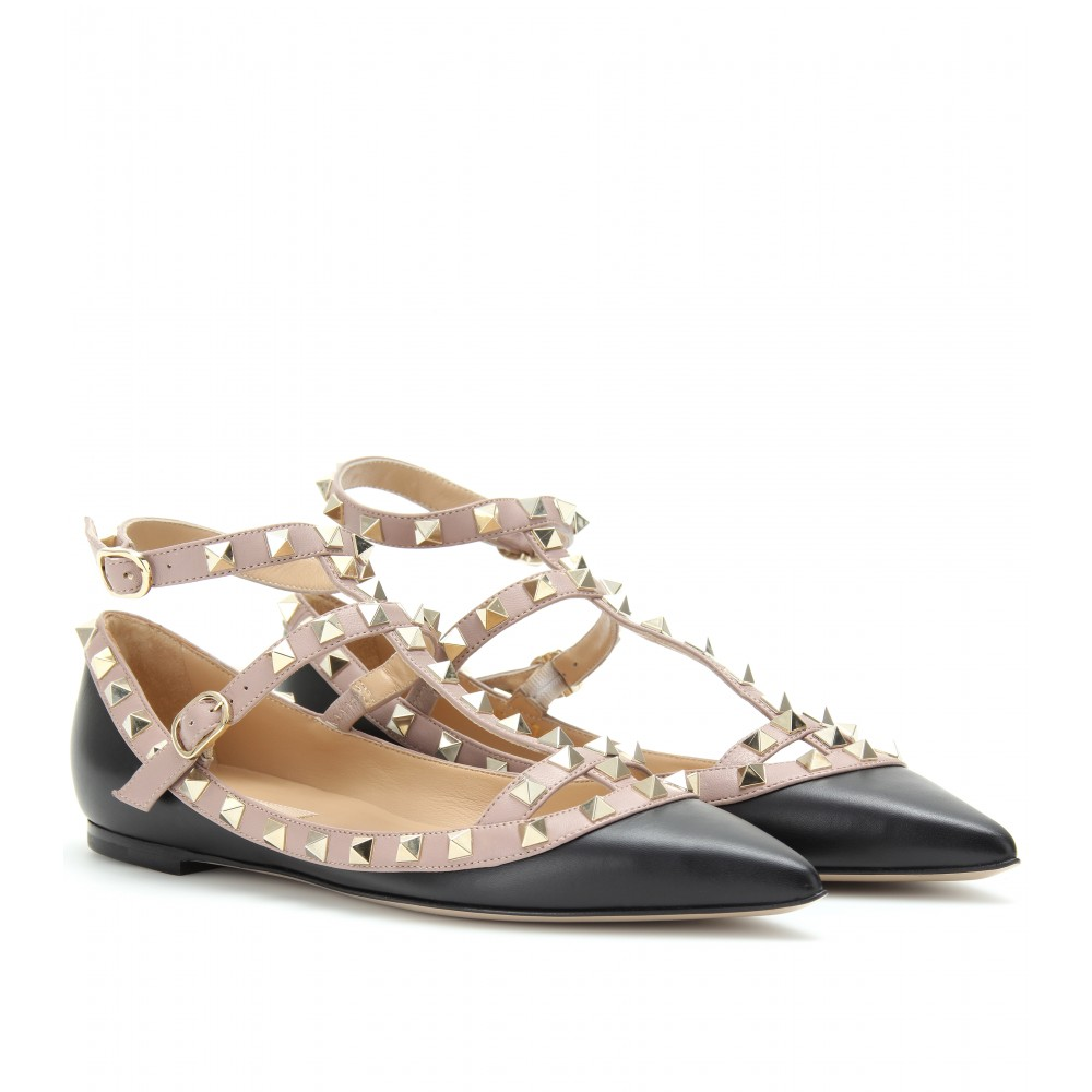 valentino rockstud leather ballerinas with ankle straps in black lyst. Black Bedroom Furniture Sets. Home Design Ideas