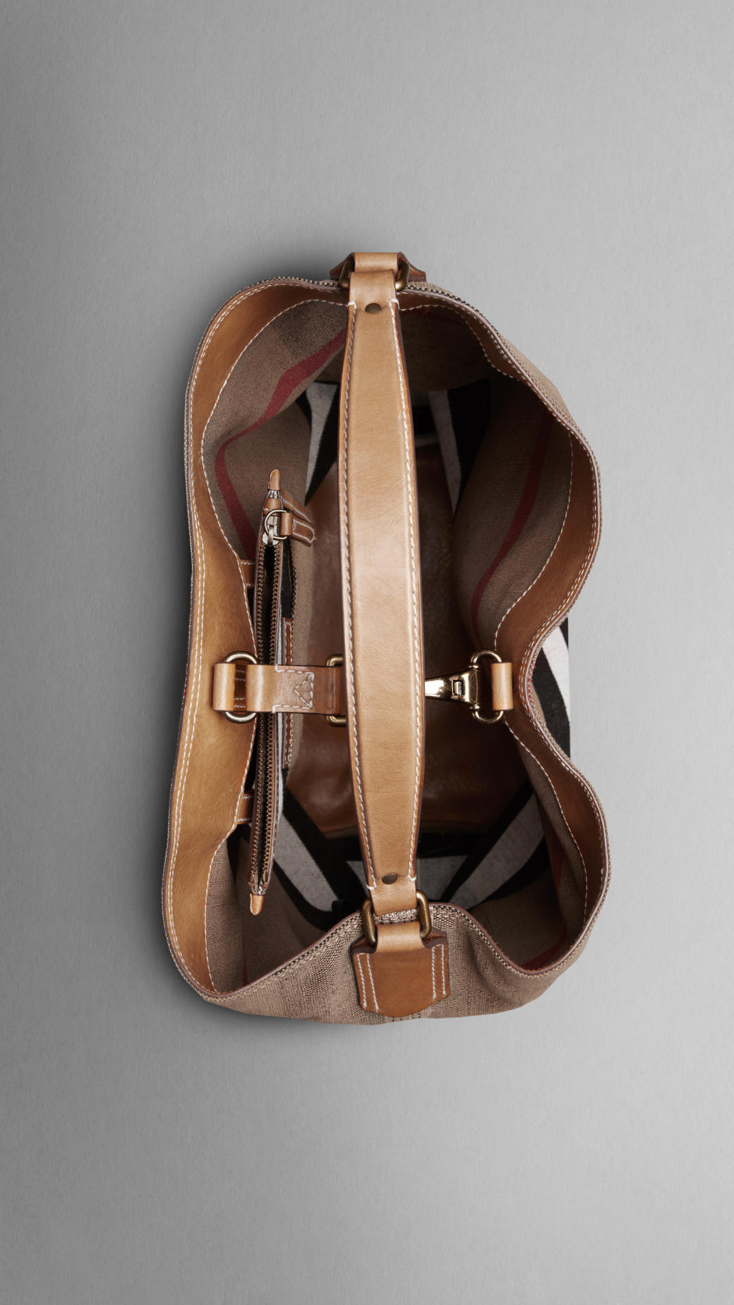 f00f190157b Burberry Large Check Cotton Canvas Hobo Bag In Brown Lyst