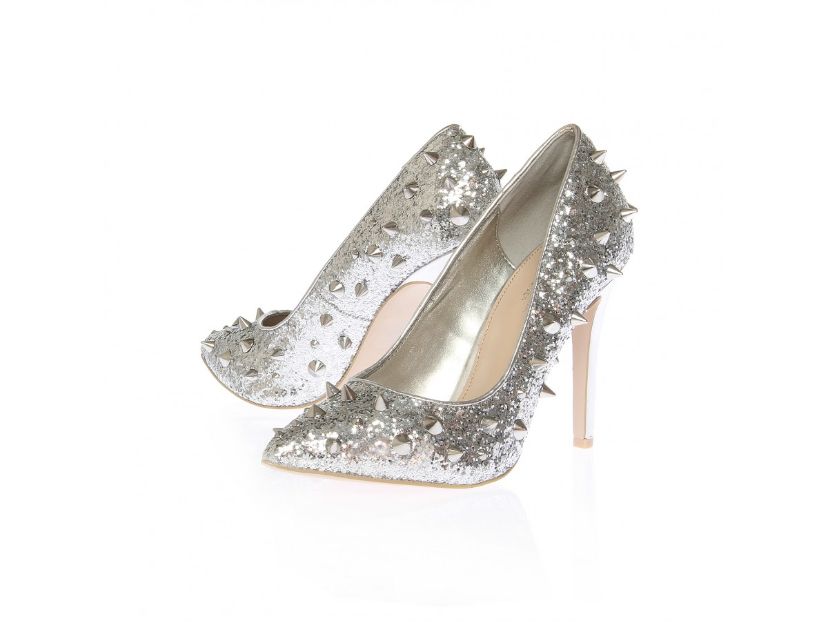 Shoeniverse: Galaxy spiked pumps in silver by Carvela Kurt Geiger