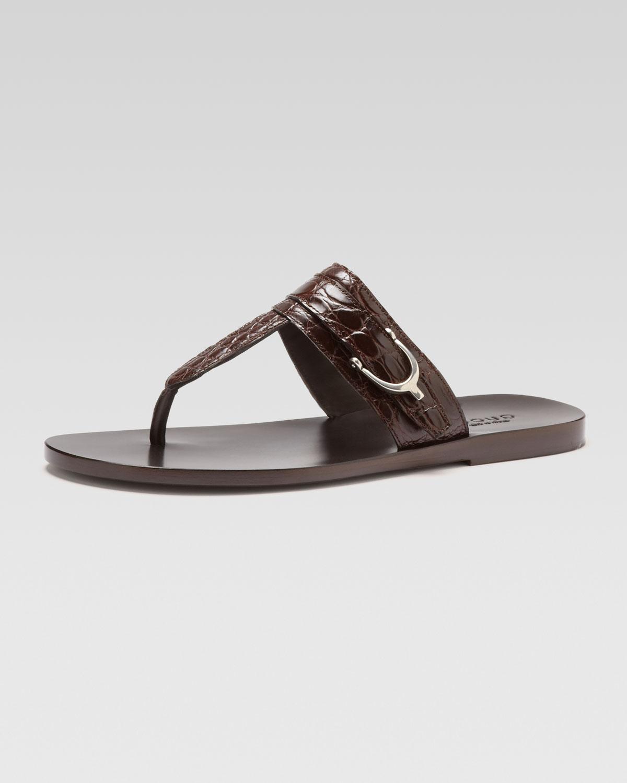 Lyst Gucci Karel Crocodile Thong Sandal In Brown For Men