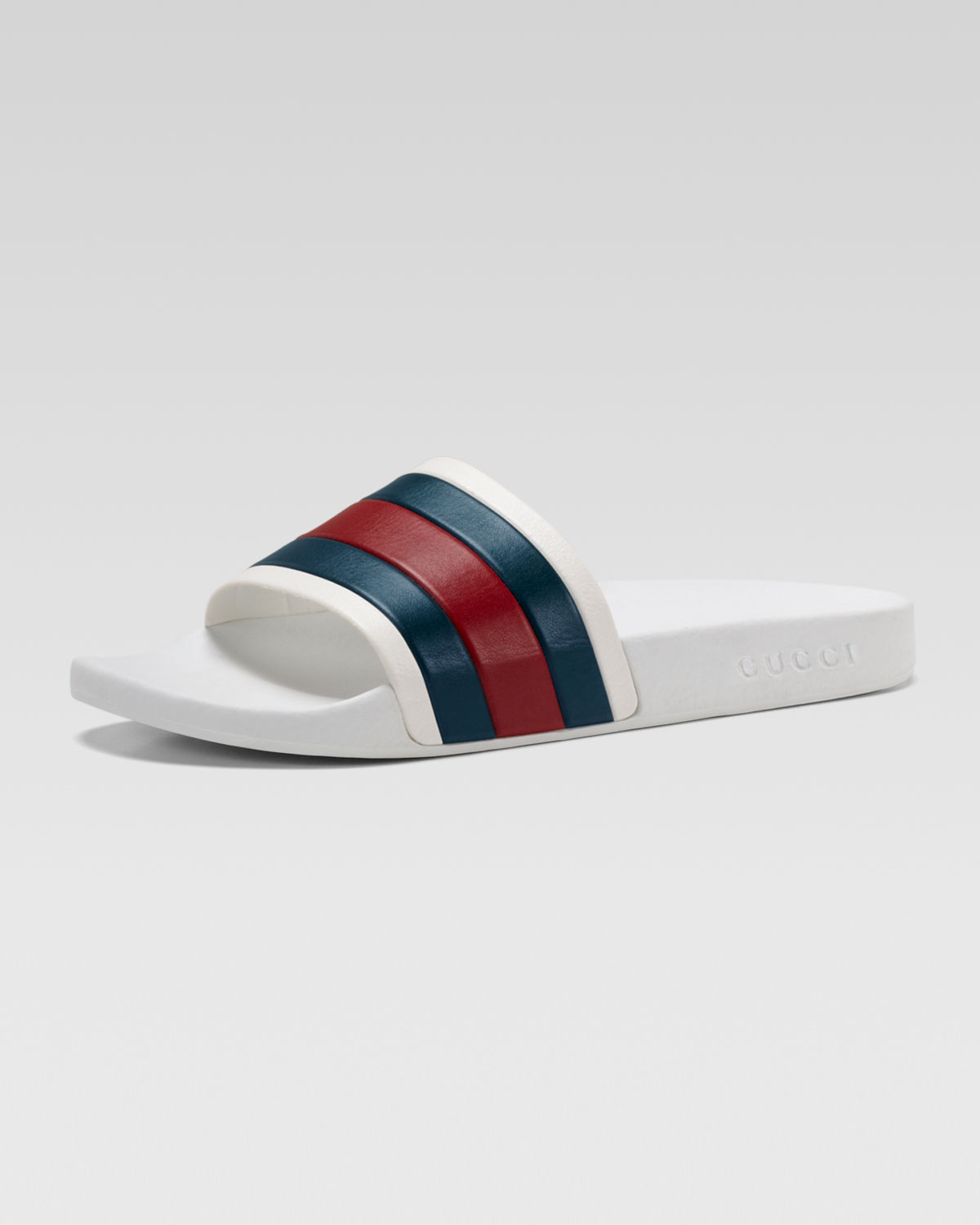 Lyst - Gucci White Rubber Slide Sandal in White for Men