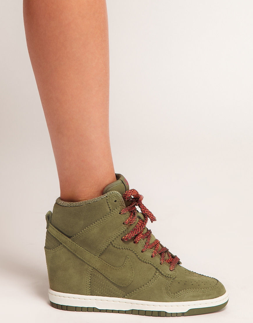 9234298537b Lyst - Nike Dunk Sky High Olive Wedge Trainers in Natural