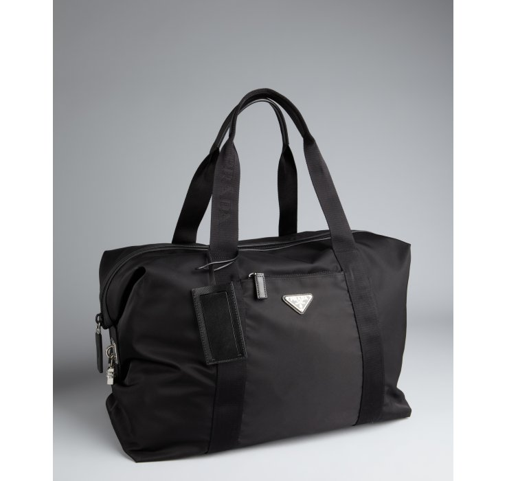 03ccf6d94fe2 ... low price lyst prada black nylon weekend bag in black for men 97bcc  219a1
