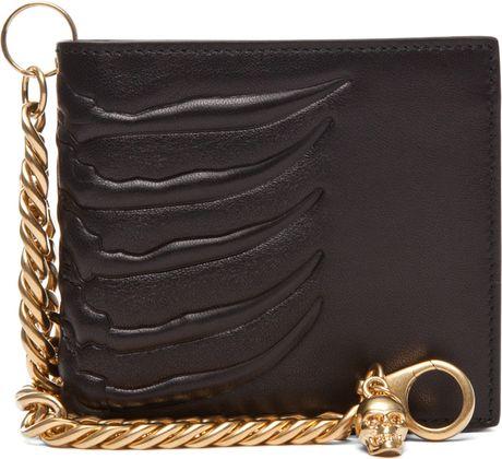 Alexander Mcqueen Ribcage Chain Wallet in Black in Black