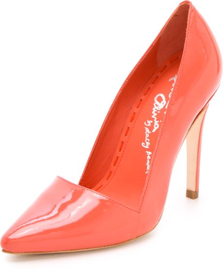 Alice + Olivia Dina Patent Pumps in Pink (coral)