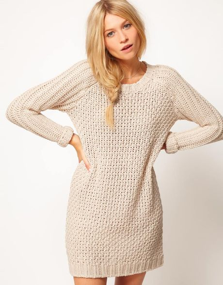 Asos Collection Asos Textured Stitch Jumper Dress in Beige (cream)