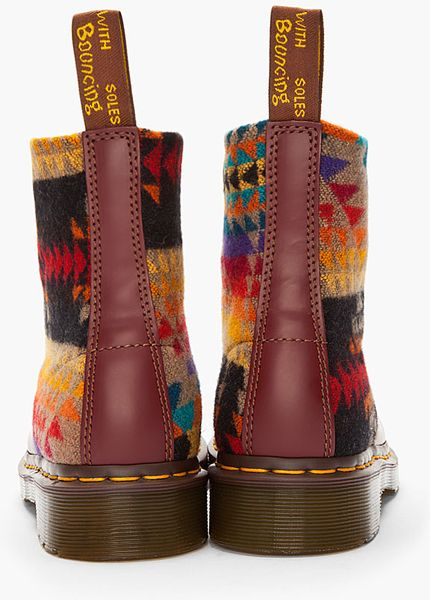 Dr Martens Burguny Printed Wool Pendleton Edition Boots