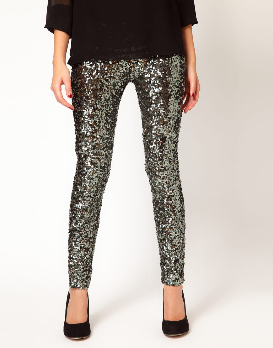 Lyst French Connection Sequin Legging In Metallic