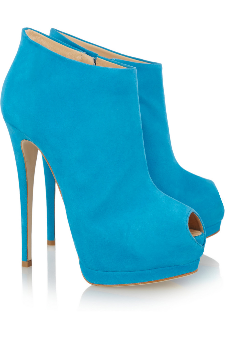 ... Bright blue suede peep toe ankle boots from Giuseppe Zanotti - plus  Sharon now in GREEN