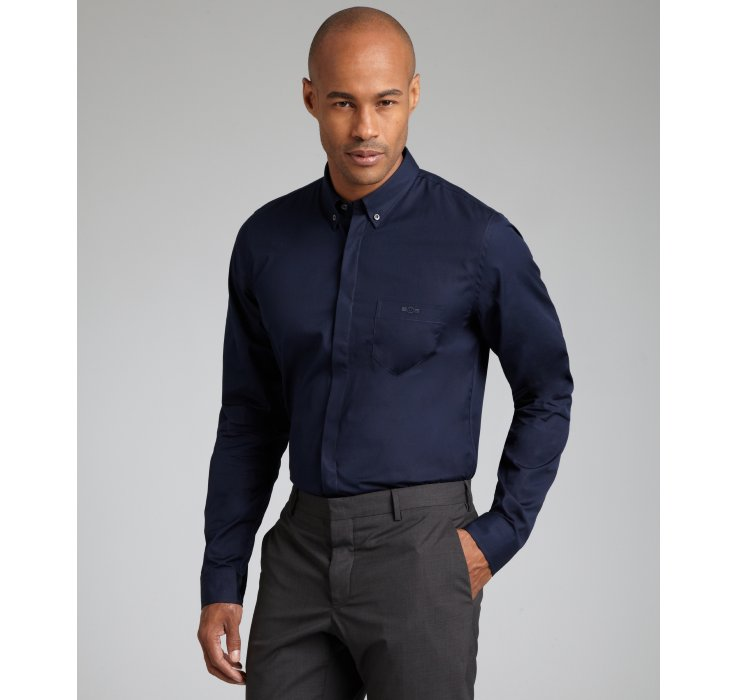 Gucci Cotton Poplin Button Down Dress Shirt in Blue for Men | Lyst