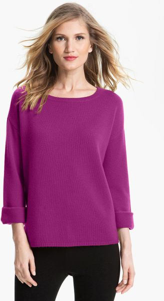 Nordstrom Collection Kimono Sleeve Cashmere Sweater in Purple (light ...