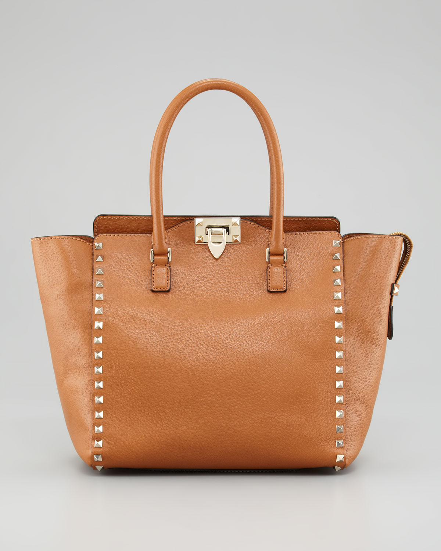 valentino rockstud double handle tote bag in brown beige lyst. Black Bedroom Furniture Sets. Home Design Ideas