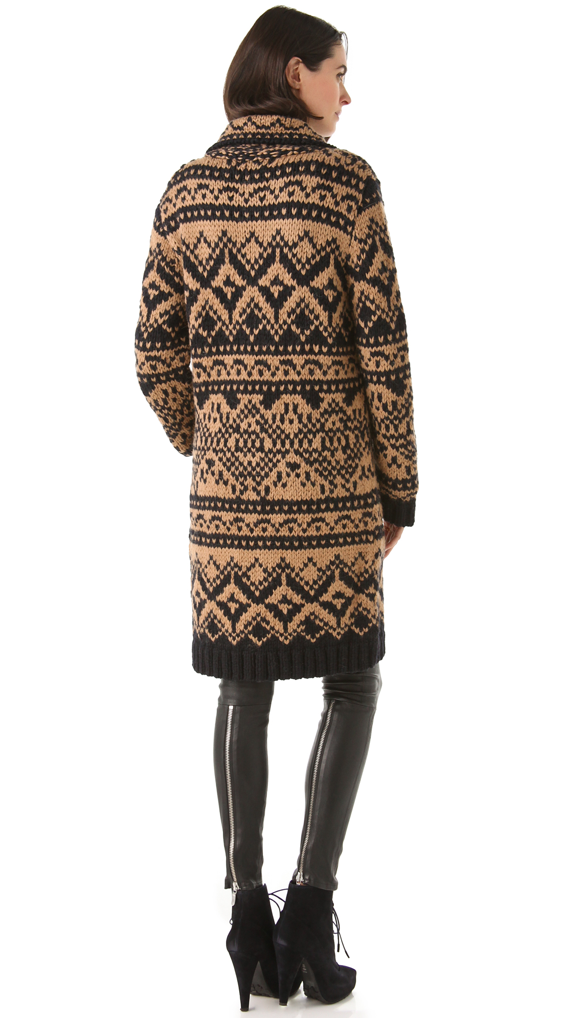 Yigal azrouël Fair Isle Sweater Coat in Blue | Lyst