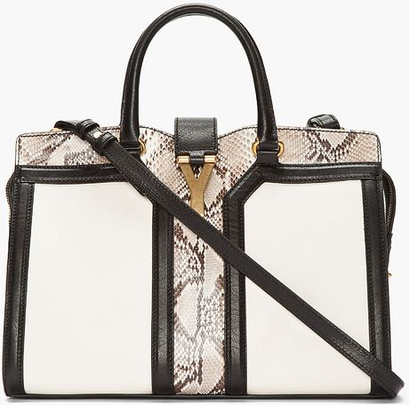 Saint Laurent Ivory Python Leather Chyc Bag in White (ivory)