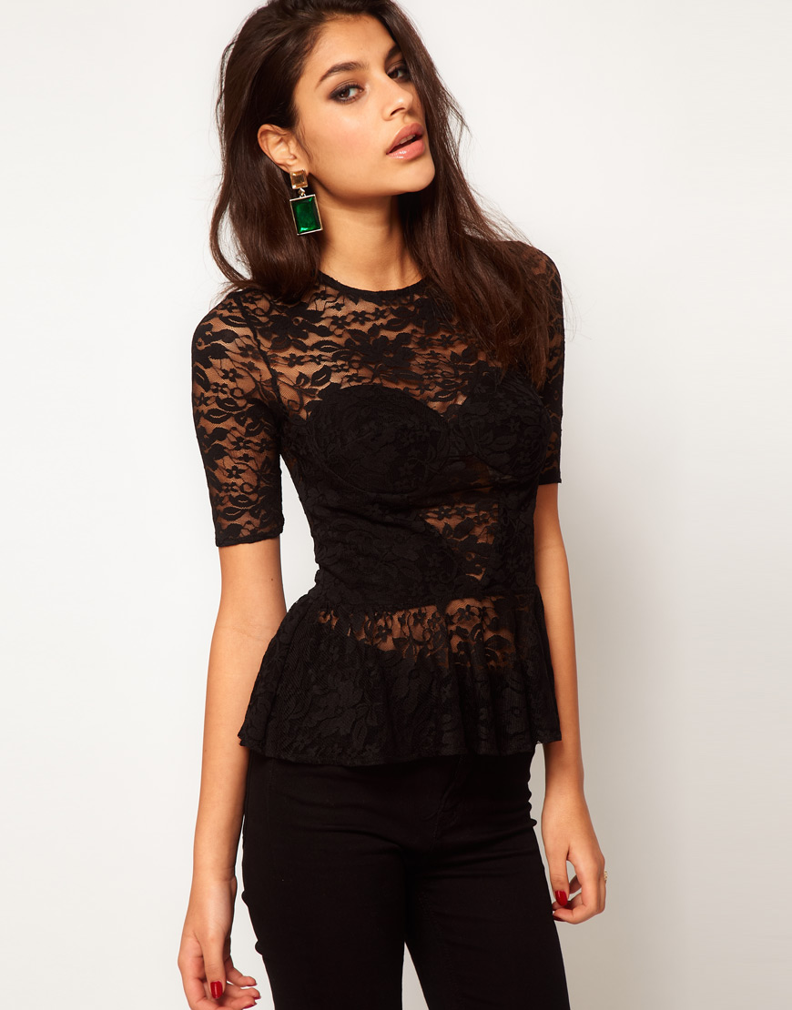 Lyst Asos Collection Asos Lace Top With Corset Detail In