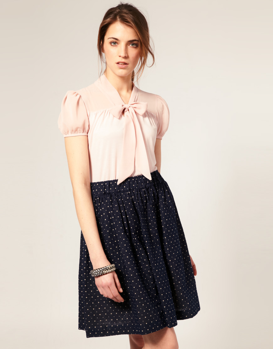248e2d0a37 ASOS Collection Short Sleeve Chiffon Mix Pussy Bow Blouse in Pink - Lyst