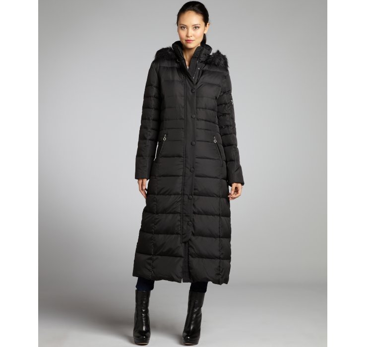 Dkny Black Quilted Sarabeth Faux Fur Hooded Down Coat in Black | Lyst
