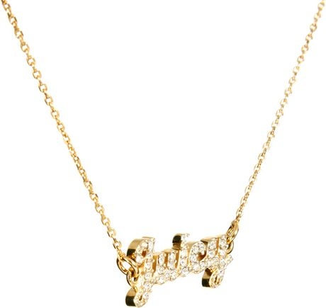 Juicy couture juicy script necklace in gold lyst for Juicy couture jewelry necklace