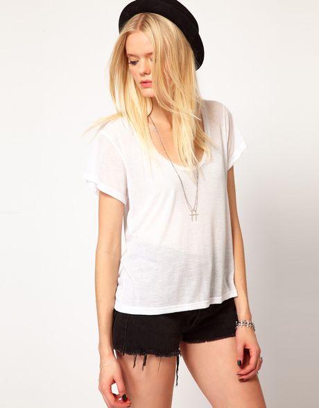 lna slouchy tshirt in white lyst