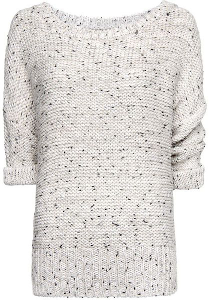 Mango Flecked Lurex Jumper in White (off white)