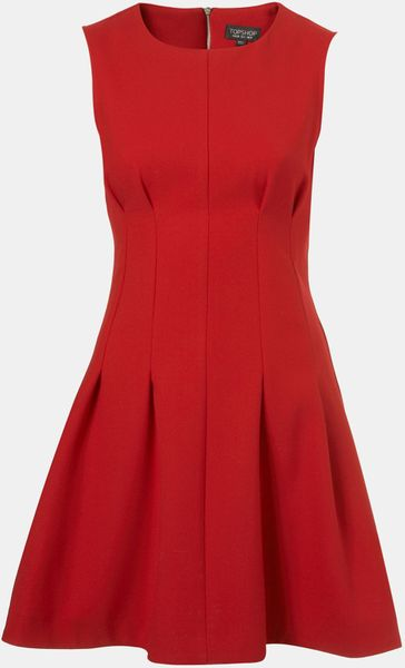Topshop Seamed Waist Party Dress in Red