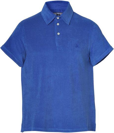 Vilebrequin saphir blue terry cloth polo shirt in blue for for Terry cloth polo shirt