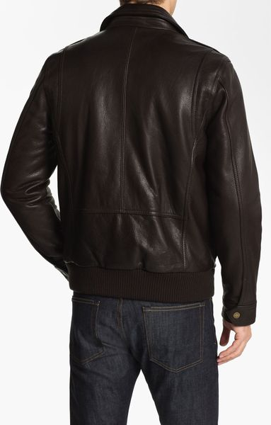 Vince Camuto Leather Bomber Jacket In Brown For Men Lyst