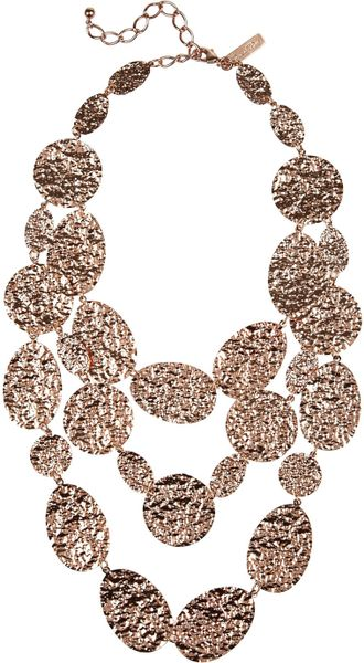 Oscar De La Renta Hammered Rose Gold Plated Multistrand Necklace in Pink (rose)