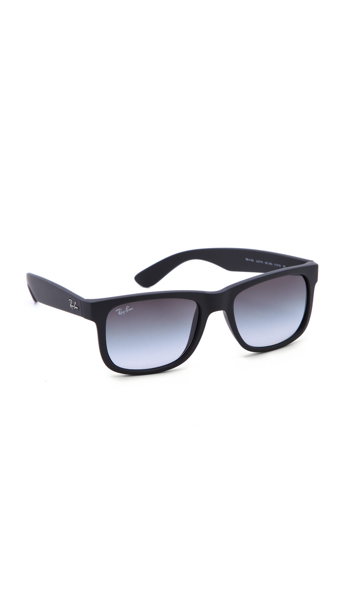ray ban justin sunglasses in black rubber black gradient grey lyst. Black Bedroom Furniture Sets. Home Design Ideas