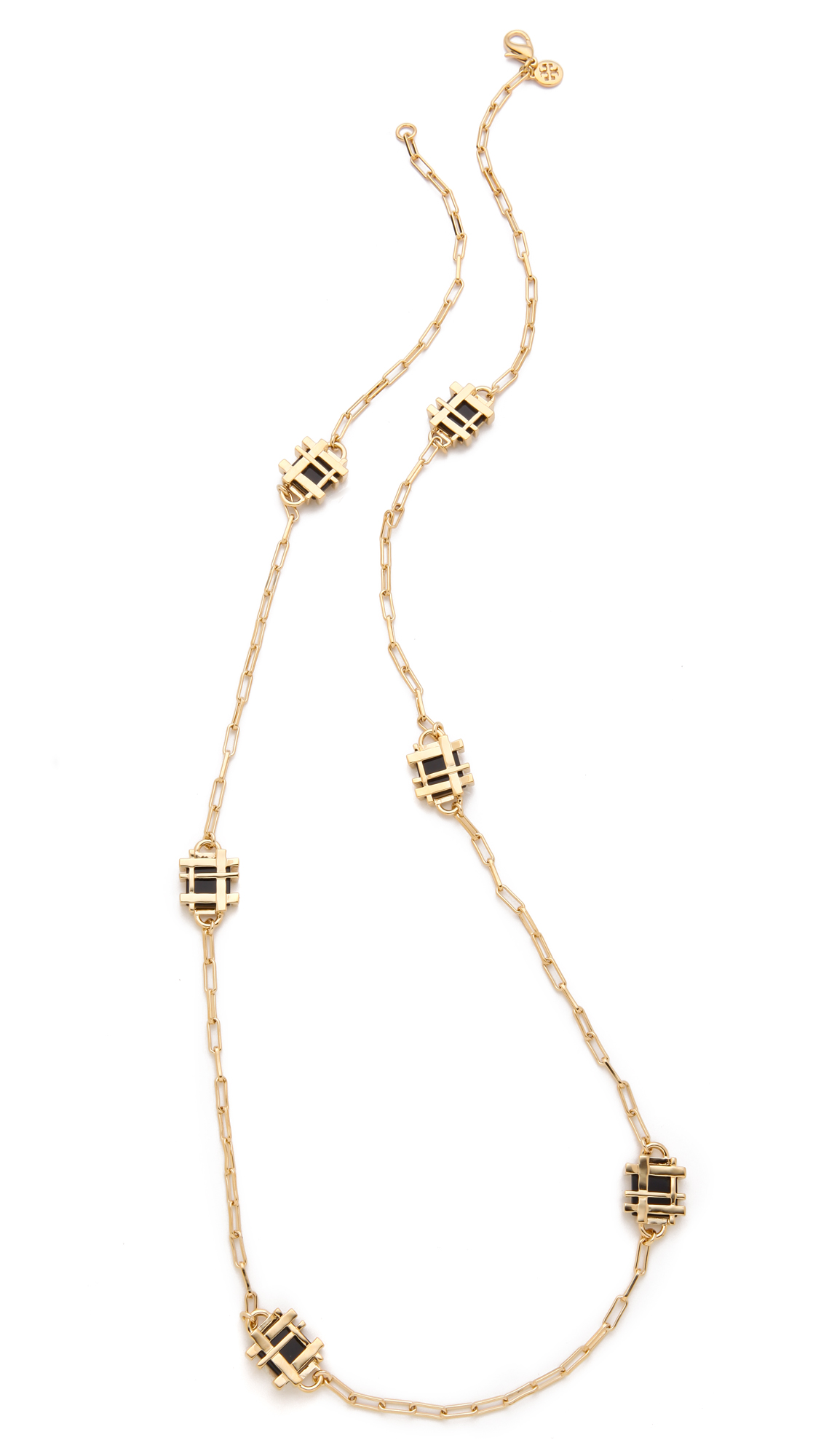 burch gingham rosary necklace in gold black lyst