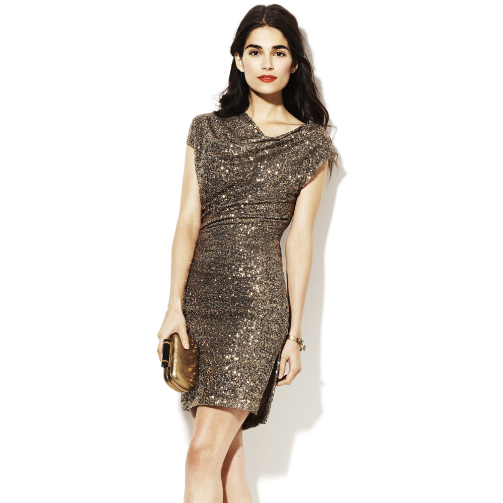 Lyst Vince Camuto Fitted Sequin Dress In Metallic