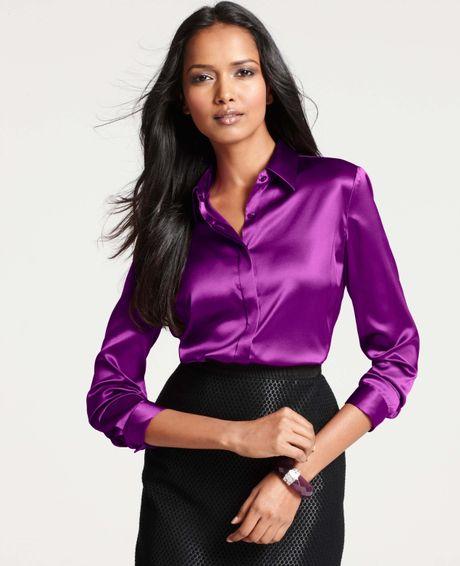 Ann Taylor Silk Legacy Button Down Blouse In Purple Berry