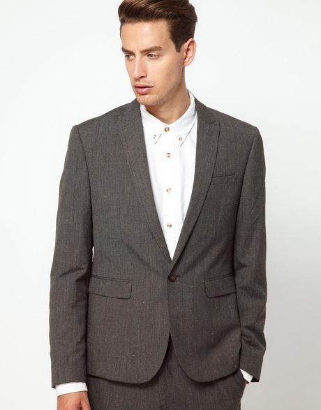 Asos asos slim fit suit jacket in fleck fabric in gray for men