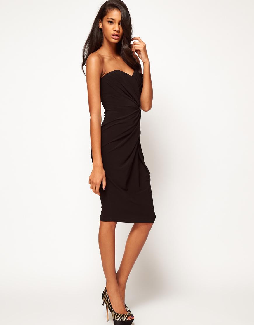 Asos Asos Bandeau Midi Dress In Black Lyst