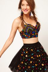 ASOS Collection Asos Bra Top with Allover Jewel Embellishment