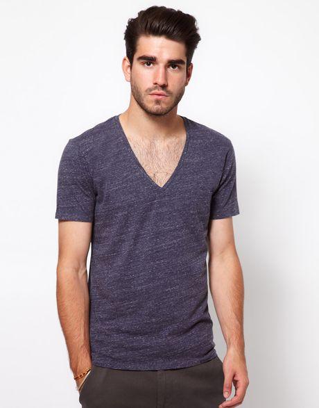 drykorn tshirt in space dyed v neck in blue for men lyst. Black Bedroom Furniture Sets. Home Design Ideas