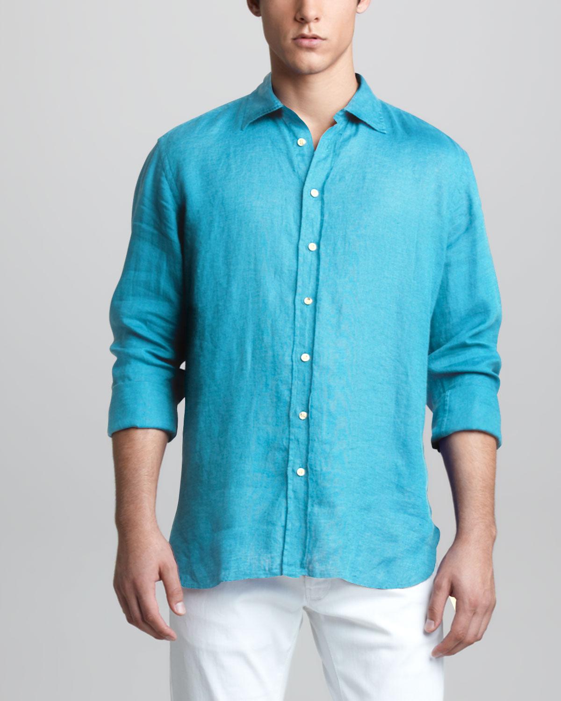 Lyst For Longsleeve Armani Blue Shirt In Giorgio Linen Men zSgrzw