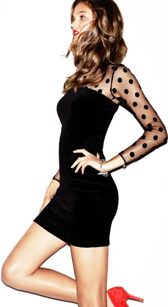 Juicy Couture Sheer Polka Dot Velvet Dress In Black Lyst