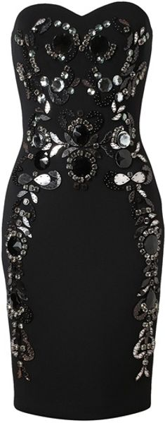 Lanvin Embellished Neoprene Strapless Dress in Black - Lyst