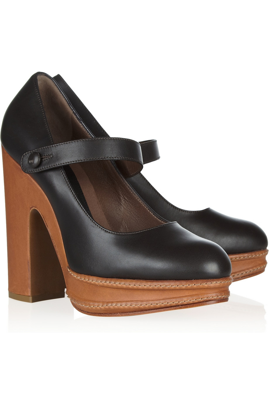 Marni Leather Mary Jane Pumps in Brown (chocolate)