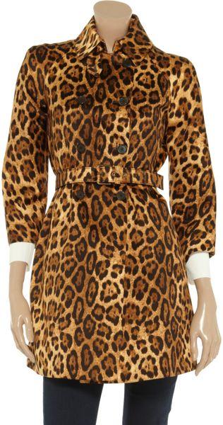 Michael Kors Animal Print Cotton Coat In Brown Animal Lyst