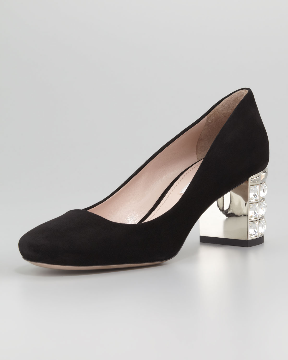 d9e8e05c4ba Lyst - Miu Miu Suede Jewel Heeled Pump in Black