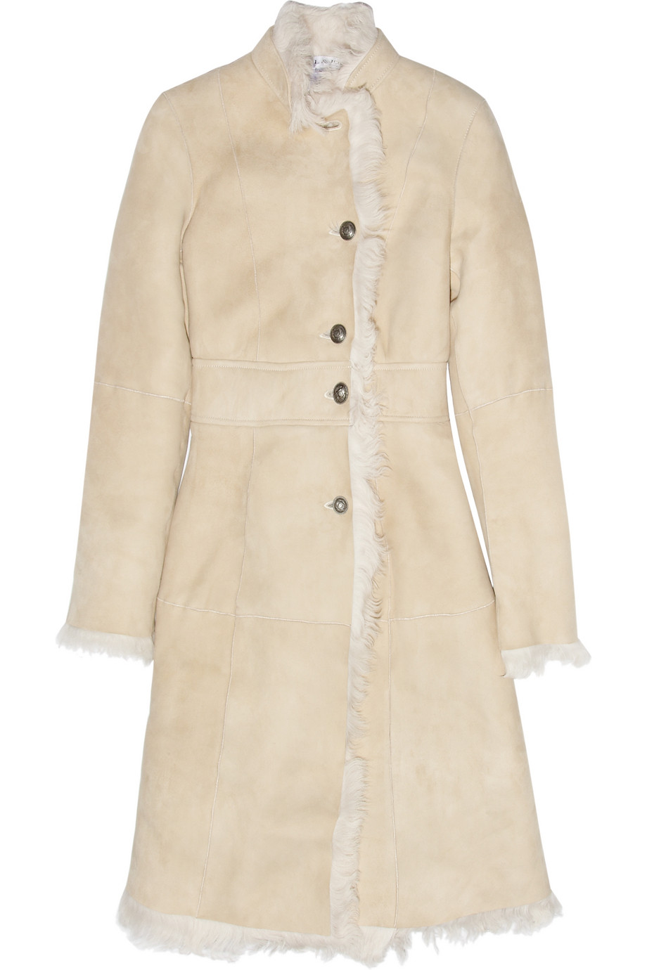 Paul &amp joe Long Shearling Coat in Natural | Lyst